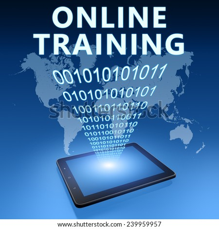 Online Training illustration with tablet computer on blue background - stock photo