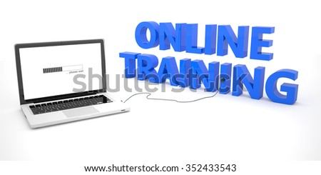 Online Training - laptop notebook computer connected to a word on white background. 3d render illustration. - stock photo