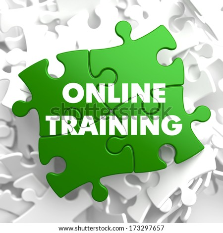 Online Training on Green Puzzle on White Background. - stock photo