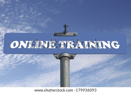 Online training road sign - stock photo