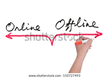 Online versus offline concept, hand writing on white board - stock photo