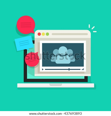 Online video conference vector icon isolated, abstract group of people in laptop video player speaking, talking, video call technology, online meeting communication concept, webinar icon - stock photo