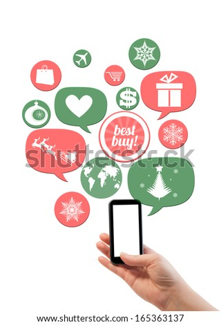 Online winter holiday shopping or shop business template. Hand holding smartphone colorful bubbles/buttons floating of it with online shopping icons - stock photo