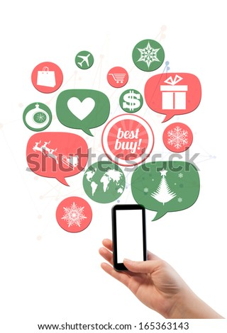 Online winter holiday shopping or shop business template. Hand holding smartphone colorful bubbles/buttons floating of it with online shopping icons. - stock photo