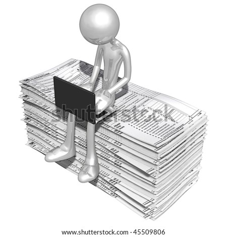 Online With Tax Forms - stock photo