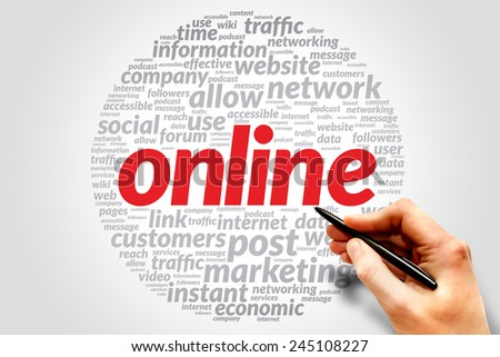 Online. Word collage with different association terms - stock photo