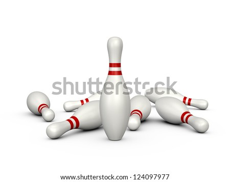 Only one bowling pin standing front of others, isolated on white background. - stock photo