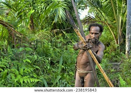 ONNI VILLAGE, NEW GUINEA, INDONESIA - JUNE 23: The Portrait of naked Korowai hunter with arrows and bow. Tribe of Korowai (Kombai,  Kolufo).On June 23, 2012 in Onni Village, New Guinea, Indonesia  - stock photo