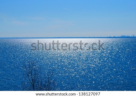 Ontario lake in sunny day - stock photo