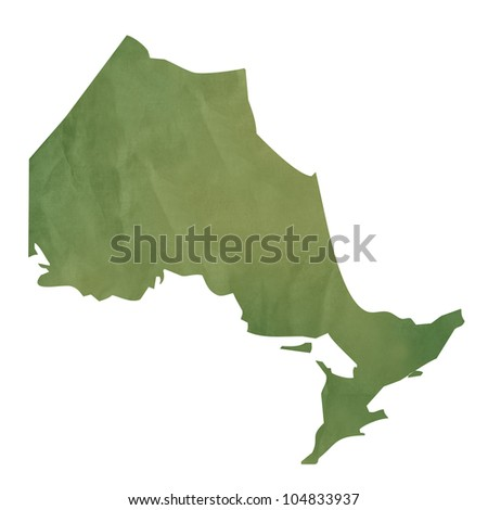 Ontario province of Canada map in old green paper isolated on white background. - stock photo