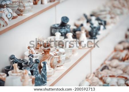 Onyx handmade things at flee market - stock photo