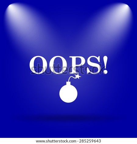 Oops icon. Flat icon on blue background.  - stock photo