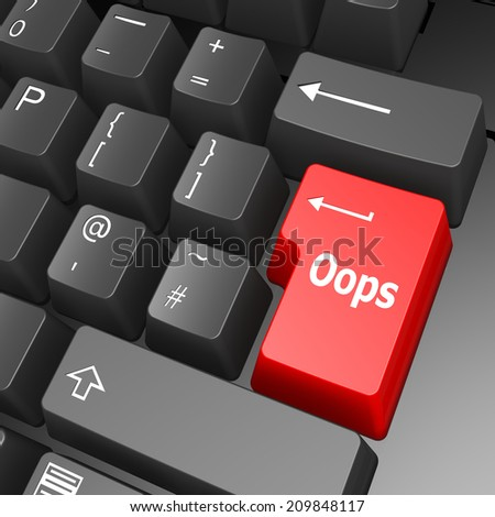 Oops key on computer keyboard - stock photo