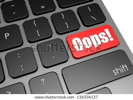 Oops with black keyboard - stock photo