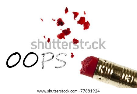 Oops word erased by pencil eraser - stock photo