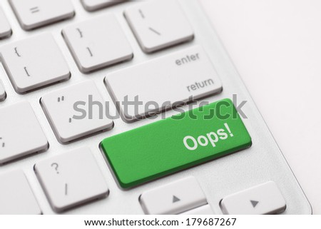 oops word on key showing fail failure mistake or sorry concept - stock photo