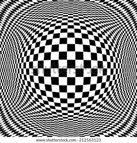 Op Art Design Pattern, black and white, concept for hypnosis, unconscious, chaos, extra sensory perception, psychic, stress, strain, optical illusion.  - stock photo