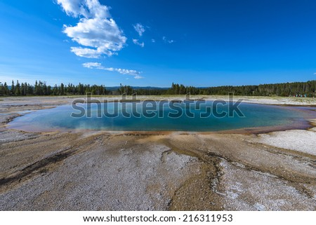 Opal Pool Midway Geyser Basin Yellowstone National Park - stock photo