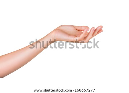 Open a woman's hand, palm up isolated on white background - stock photo