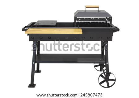 Open air large functional grill oven, isolated on white. - stock photo