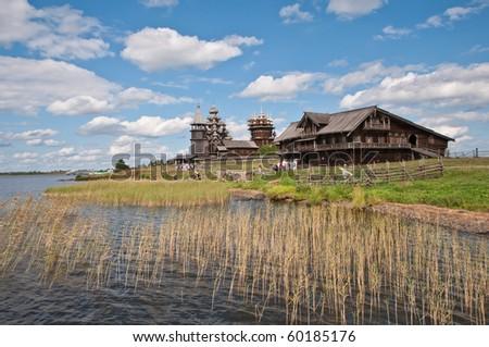 Open-air museum in Kizhi island, Russia, Karelia - stock photo