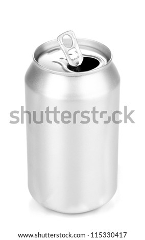 Open aluminum can isolated on white - stock photo