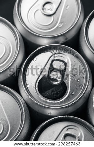 Open Aluminum Soft Drink Can With Water Drops - stock photo