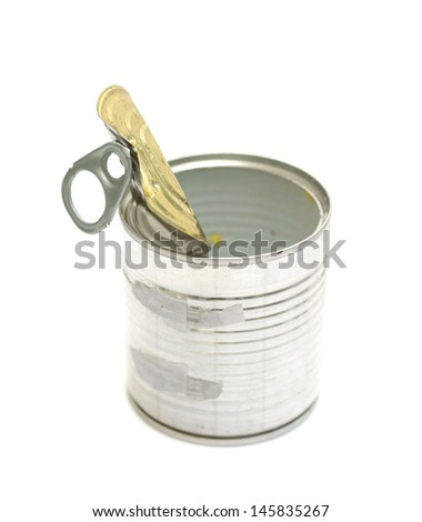 Open an empty tin can isolated on white background - stock photo