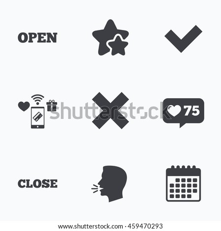 Open and Close icons. Check or Tick. Delete remove signs. Yes correct and cancel symbol. Flat talking head, calendar icons. Stars, like counter icons.  - stock photo