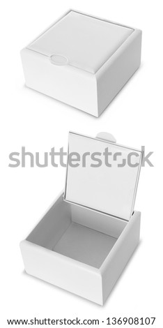 Open and Close White box isolated over white background - stock photo