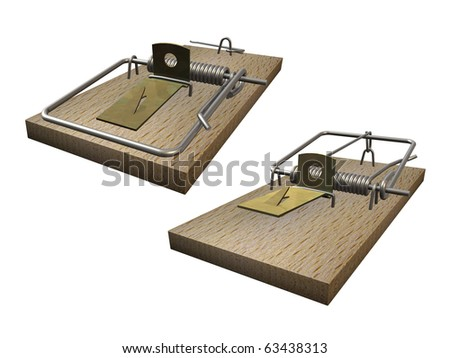 Open and closed mousetrap on white background - stock photo