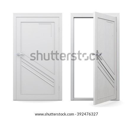 Open and closed white door isolated on white background. 3d rendering. - stock photo