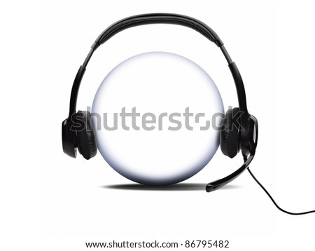 Open audio headset with a micro  (clipping path ) - stock photo