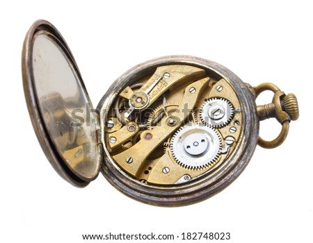open back side of brass  vintage clock isolated on  background - stock photo