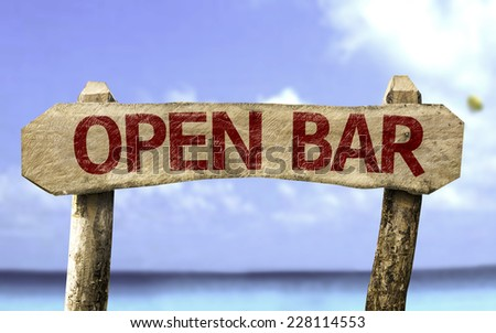 Open Bar wooden sign with a beach on background - stock photo