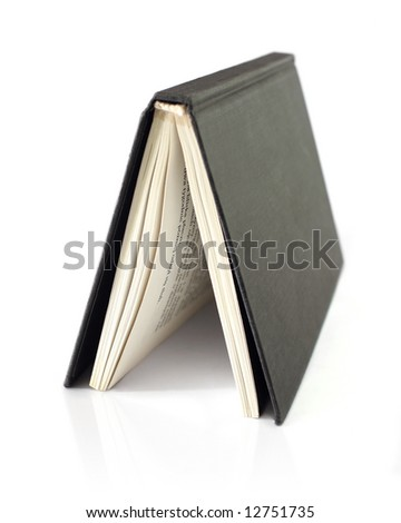 open black book isolated on white - stock photo