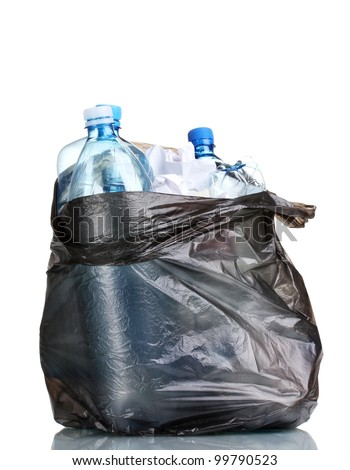 open black garbage bag with trash isolated on white - stock photo