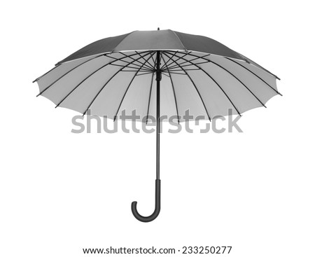 Open black umbrella isolated on white with clipping path - stock photo