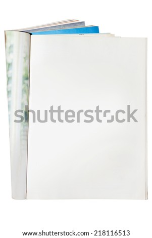 Open blank magazine isolated on white. - stock photo