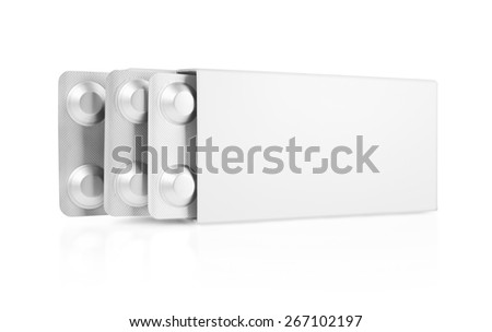 Open blank medicine drug box isolated - stock photo