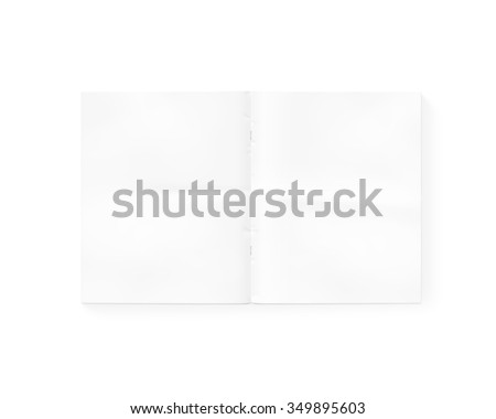 Open blank newspaper mock up isolated on white. White gazette mockup  presentation. Magazine template layout. Tabloid mockup layout. Daily opened in middle. Empty newsprint booklet design. - stock photo