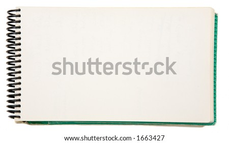 Open blank notebook on a white background - stock photo