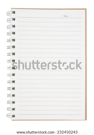 open blank page notebook  isolated on white background,  file includes a excellent clipping path - stock photo