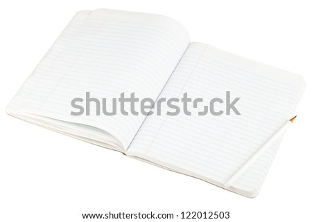Open blank paper notebook with lined pages and pencil isolated on white background - stock photo