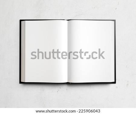 Open blank textbook on white stucco wall - stock photo