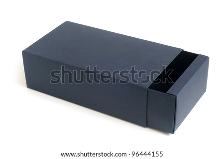 Open blue box on a white background - stock photo