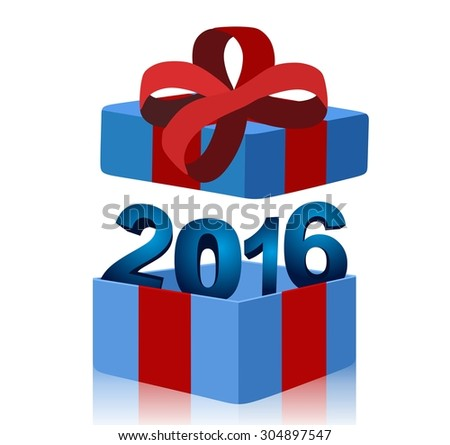 open blue gift box with year 2016 inside - stock photo