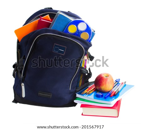 open blue school backpack with stationery and apples isolated on white background - stock photo
