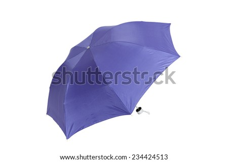 Open blue umbrella isolated on white with clipping path - stock photo