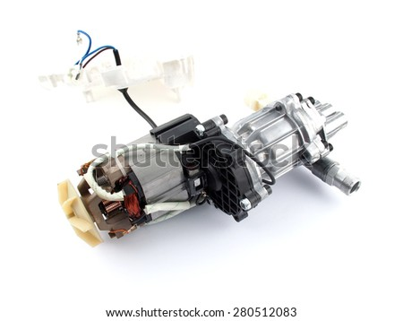 Open body, Pump with an electric motor on a white background - stock photo